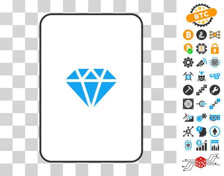 보너스 bitcoin 마이닝 및 blockchain 그래픽 아이콘을 가진 화려한 도박 카드 그림 문자. cryptocurrency 웹 사이트에 대한 플랫 벡터 이미지.