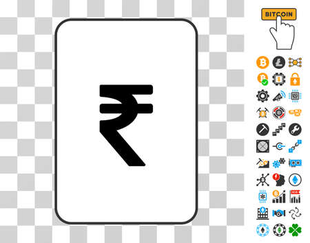 Indian Rupee gambling card pictogram with additional bitcoin mining and blockchain icons. Flat vector pictures for bitcoin websites.