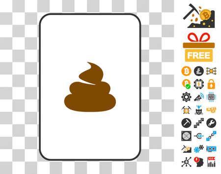 Shit gambling card pictogram with bonus bitcoin mining and blockchain clip art. Flat vector pictograms for crypto-currency toolbars. Illustration