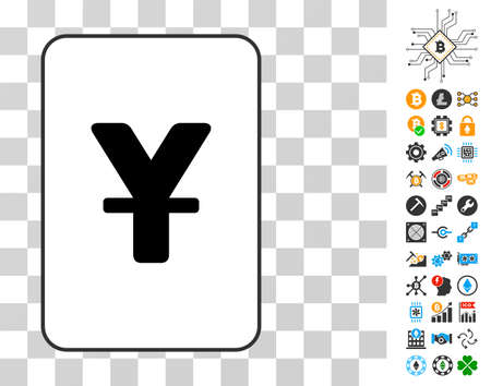 Yen playing card pictogram with bonus bitcoin mining and blockchain graphic icons. Flat vector pictograms for cryptocurrency toolbars. Ilustracja