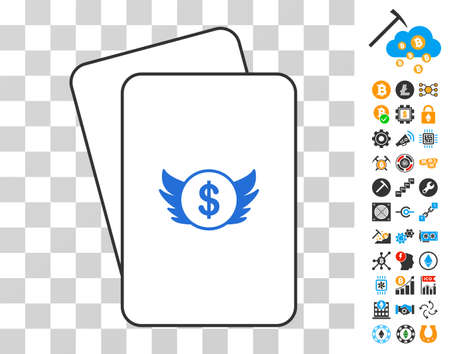 Angel Investment gambling cards pictogram with bonus bitcoin mining and blockchain symbols. Flat vector symbols for crypto currency toolbars.