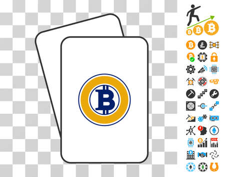 Bitcoin Gold playing cards icon with additional bitcoin mining and blockchain pictographs. Flat vector pictures for blockchain websites.