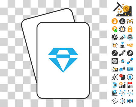 Brilliant playing cards pictogram with additional bitcoin mining and blockchain design elements. Flat vector pictograms for crypto-currency apps.
