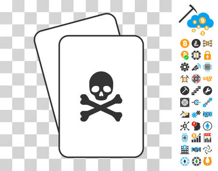 Death playing cards pictograph with additional bitcoin mining and blockchain pictograms. Flat vector images for crypto currency software.