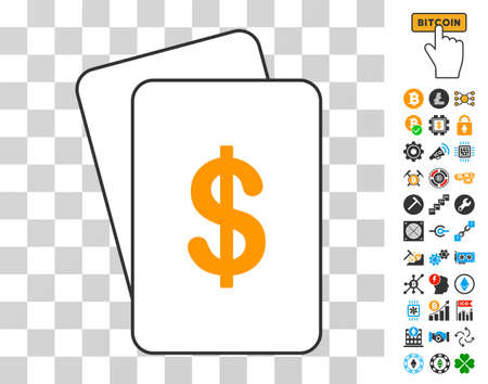 Dollar playing cards pictogram with additional bitcoin mining and blockchain pictograms. Flat vector symbols for crypto currency software.