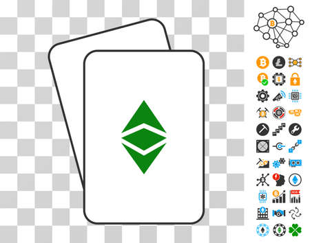 Ethereum Classic playing cards pictograph with bonus bitcoin mining and blockchain graphic icons. Flat vector style for bitcoin software. Illustration