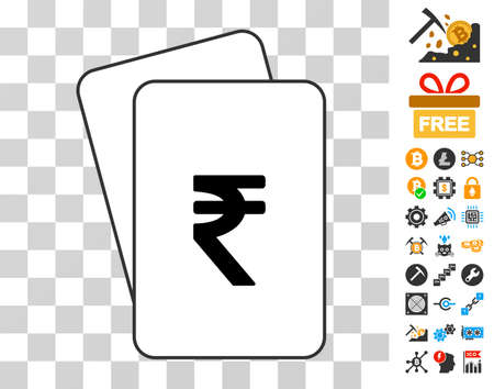 Indian Rupee playing cards icon with bonus bitcoin mining and blockchain pictures. Flat vector graphics for crypto-currency software. Ilustracja