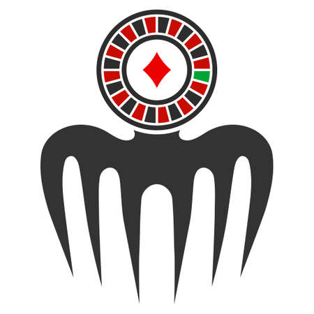 Roulette Spectre Monster flat vector pictogram. An isolated icon on a white background. Illustration