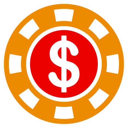 Dollar Casino Chip flat vector pictograph. An isolated icon on a white background.