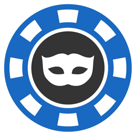 Anonymous Casino Chip flat vector pictogram. An isolated icon on a white background. Illustration