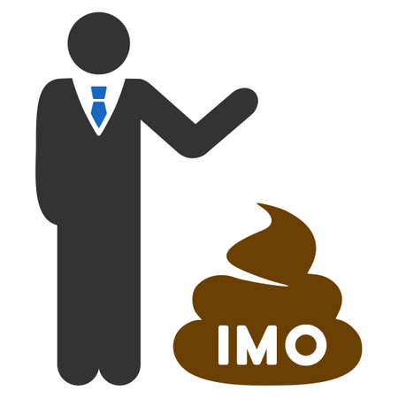 Businessman Show Imo Shit flat vector illustration. An isolated icon on a white background. Stock Vector - 93833631