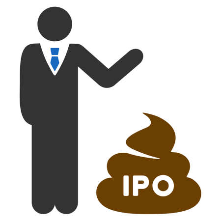 Businessman Show Ipo Shit flat vector illustration. An isolated icon on a white background.