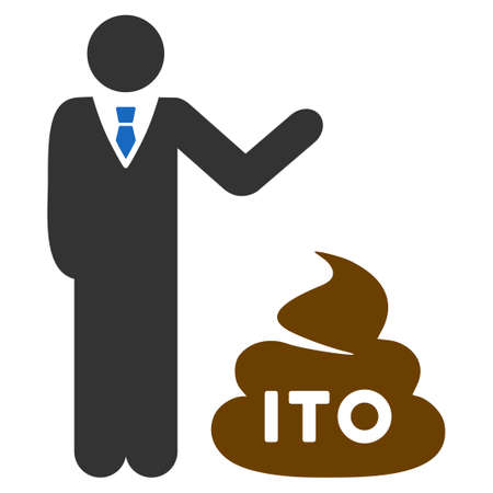 Businessman Show Ito Shit flat vector icon. An isolated icon on a white background.