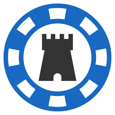 Castle Casino Chip flat vector pictogram. An isolated icon on a white background.
