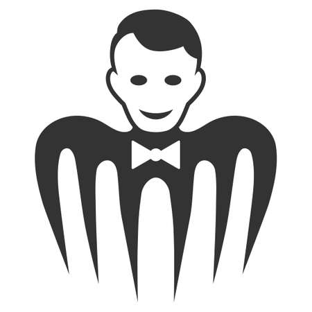 Croupier Monster flat vector pictograph. An isolated icon on a white background.