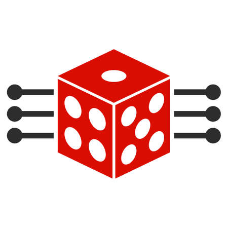 Dice Links flat vector pictograph. An isolated icon on a white background.