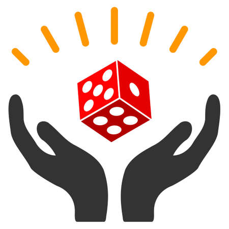 Dice Win Hands flat vector illustration. An isolated icon on a white background.