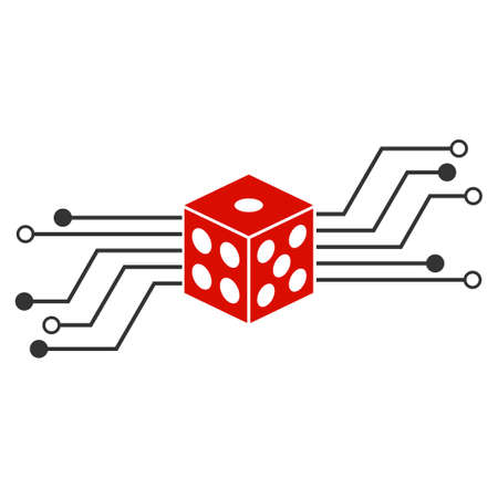 Digital Dice Circuit flat vector illustration. An isolated icon on a white background.