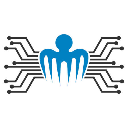Electronic Circuit Spectre flat vector pictograph. An isolated icon on a white background.