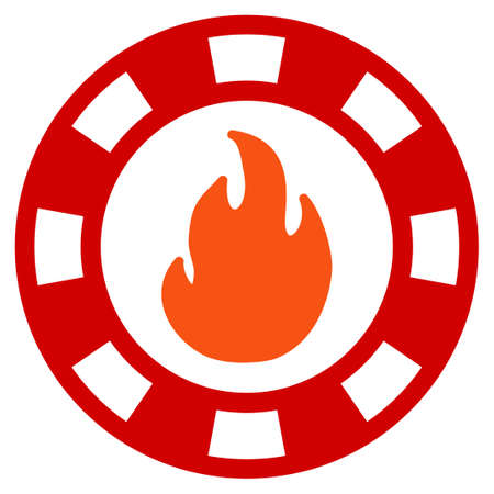 Fire Casino Chip flat vector illustration. An isolated icon on a white background.