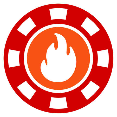 Flame Casino Chip flat vector icon. An isolated icon on a white background.