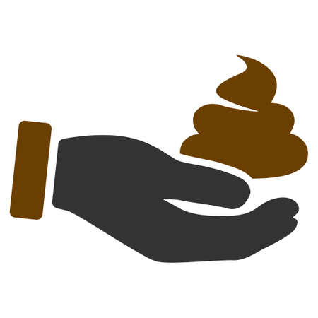 Hand Offer poop  flat vector pictogram. An isolated icon on a white background.