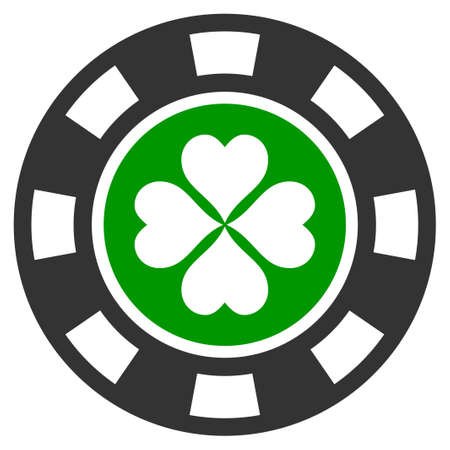 Luck Casino Chip flat vector pictograph. An isolated icon on a white background.