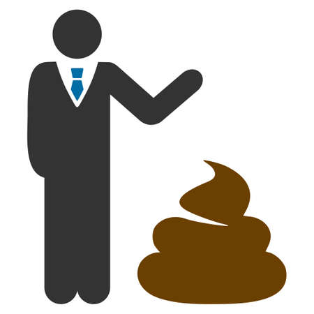Manager Show poop flat vector illustration. An isolated icon on a white background.