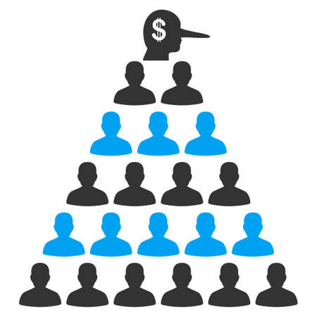 Ponzi Pyramid Manager flat vector pictograph. An isolated icon on a white background. 일러스트