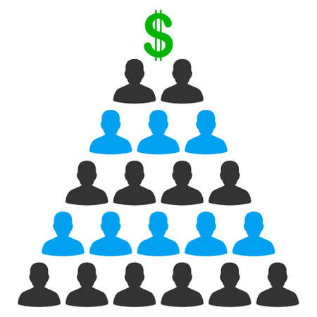 Ponzi Pyramid Scheme flat vector pictograph. An isolated icon on a white background.