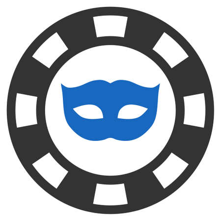 Private Mask Casino Chip flat vector pictograph. An isolated icon on a white background.