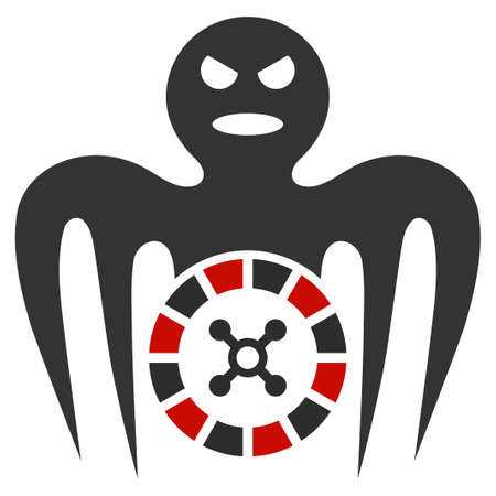 Roulette Spectre Monster flat vector pictograph. An isolated icon on a white background.