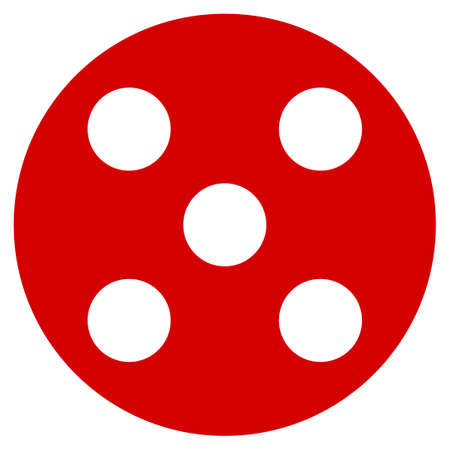 Round Dice flat vector pictograph. An isolated icon on a white background.