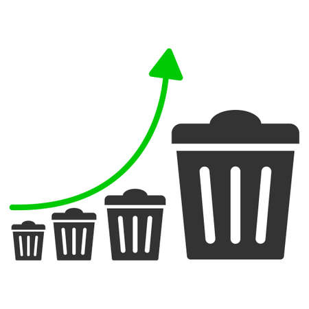 Trash Growing Trend flat vector pictograph. An isolated icon on a white background.