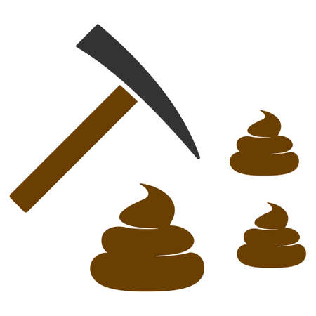 Shit Mining flat raster pictogram. An isolated icon on a white background.
