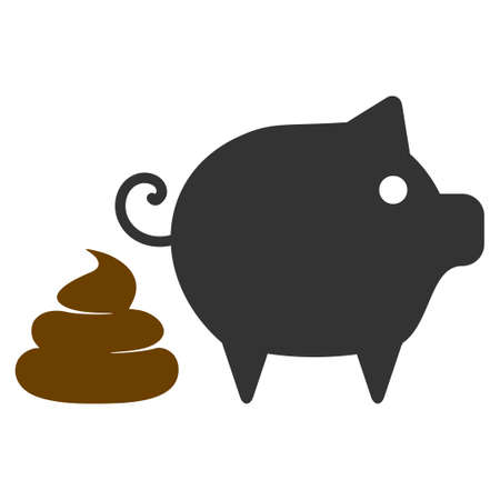 Pig Shit flat raster icon. An isolated icon on a white background. Stock Photo