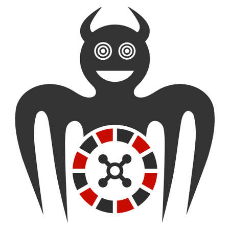 Roulette Mad Spectre Devil flat raster illustration. An isolated icon on a white background.