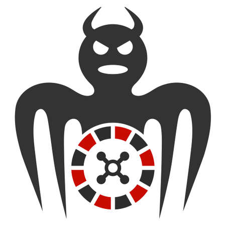 Roulette Spectre Devil flat raster icon. An isolated icon on a white background.