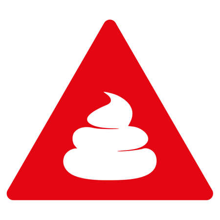 Shit Danger flat raster pictograph. An isolated icon on a white background.