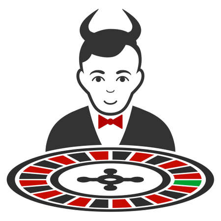 Devil Roulette Croupier flat vector icon. An isolated icon on a white background. Illustration