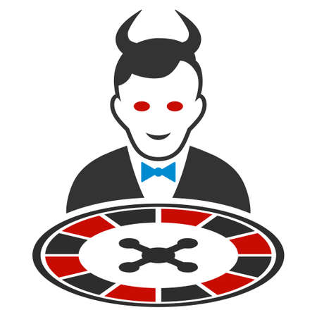 Devil Roulette Dealer flat vector icon. An isolated icon on a white background.