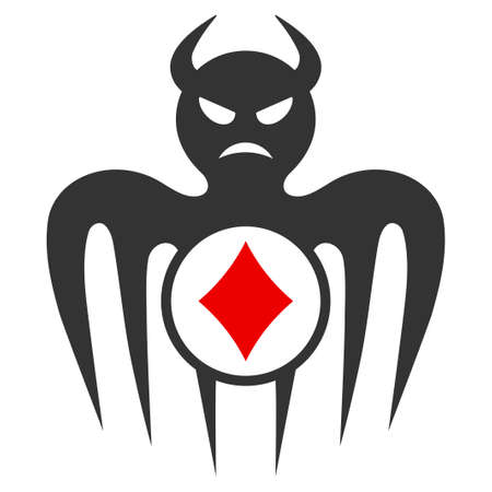 Gambling Spectre Devil flat vector pictogram. An isolated icon on a white background.