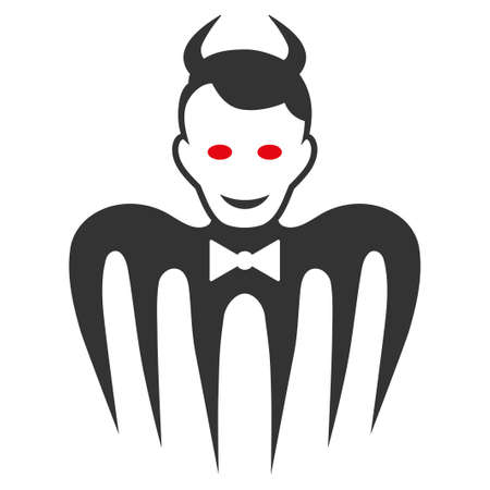Gentleman Spectre Devil flat vector pictogram. An isolated icon on a white background.