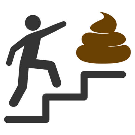 Person Climb Shit Stairs flat vector illustration. An isolated icon on a white background.