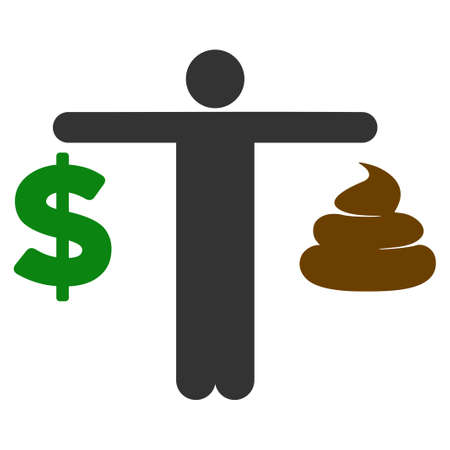 Person Compare Shit Dollar flat vector pictogram. An isolated icon on a white background. Illustration