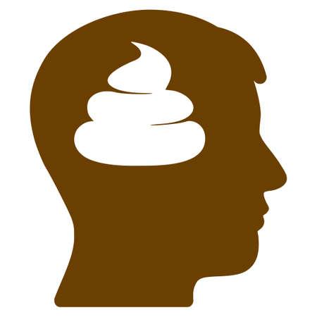 Un'icona di vettore piatto testa cervelli di merda. Un'icona isolata su uno sfondo bianco.