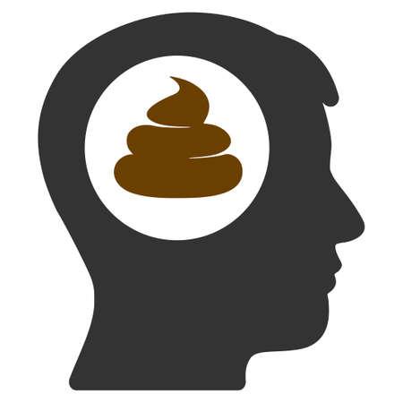 Un pittogramma di vettore piatto testa idea di merda. Un'icona isolata su uno sfondo bianco. Vettoriali