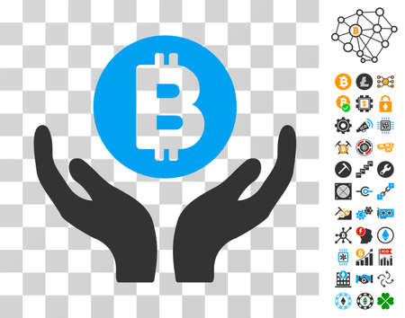 Bitcoin Support Hands icon with bonus bitcoin mining and blockchain clip art. Vector illustration style is flat iconic symbols. Designed for blockchain ui toolbars.