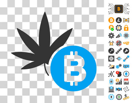 Cannabis Bitcoin icon with bonus bitcoin mining and blockchain images. Vector illustration style is flat iconic symbols. Designed for crypto currency software.