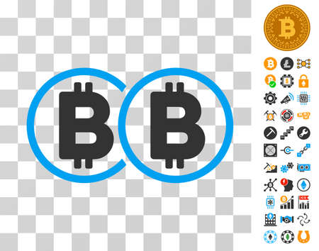 Double Bitcoin pictograph with bonus bitcoin mining and blockchain design elements. Vector illustration style is flat iconic symbols. Designed for crypto currency software. Ilustracja